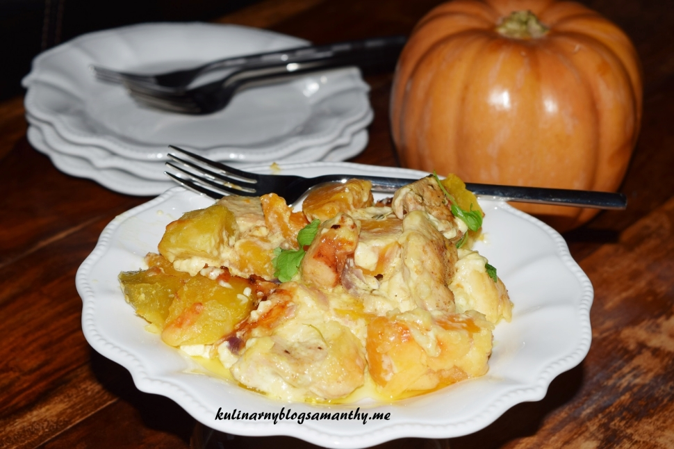 Zapiekanka z dyni, kurczaka i ziemniaków