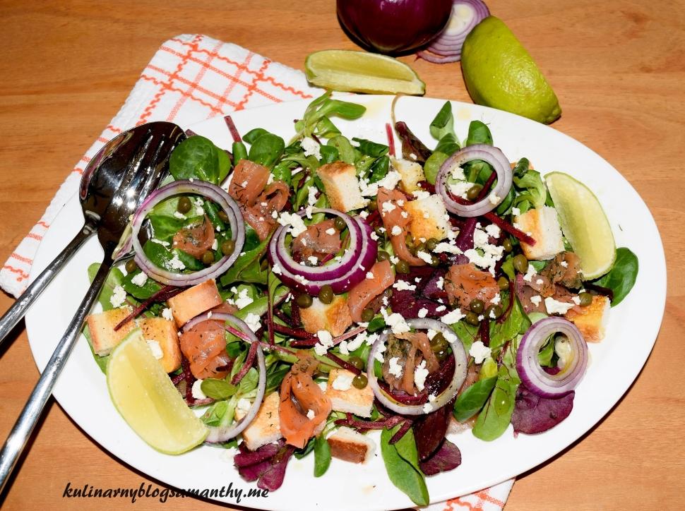 Sałatka z botwiny z łososiem