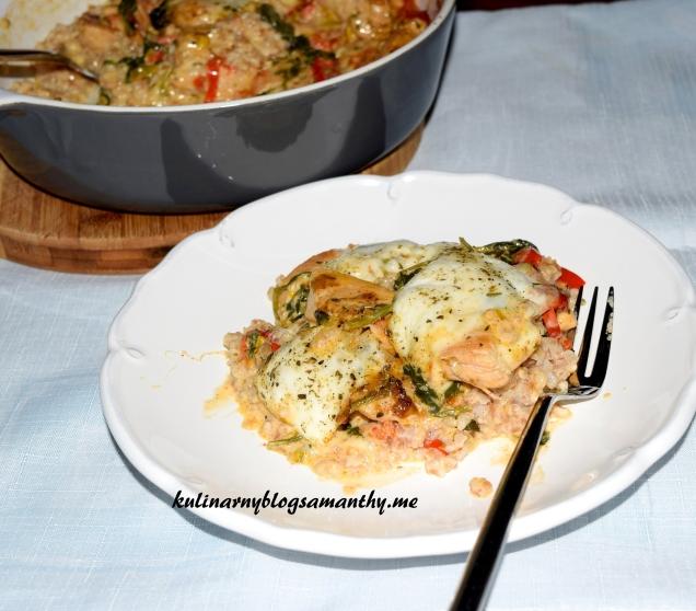 Kasza orkiszowa z kurczakiem i warzywami